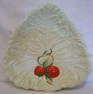 Carlton Ware Embossed Lettuce & Tomato Salad Bowl/Triangular Plate - 1950s